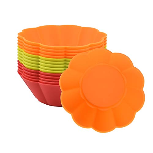 KLYNGTSK 15 PCS Silicone Muffin Mould Reusable Baking Cases Muffin Molds Nonstick Cupcake Mold Heat Resistant Mini Tart Molds Baking Cups for Cupcakes  Brownies  Muffins  Pudding  7.5x7.5x3cm