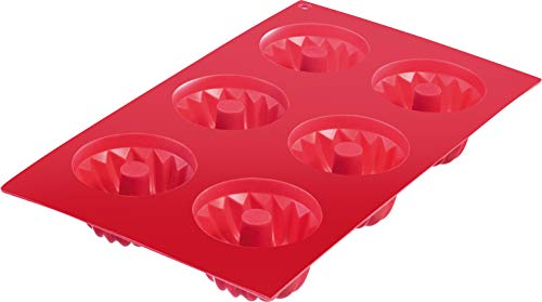 Westmark Baking mould Classic for 6 small cakes in red  Silicone  29.3 x 17.5 x 3 cm