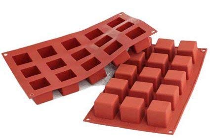 silikomart 26.105.00.0065 Sf 104 Brick Red Silicone Cube Mould 29.5 x 17.5 x 1.5 cm