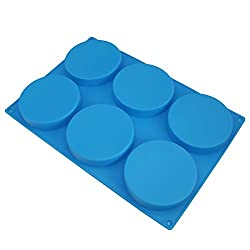 6-Cavity Large Cake Mould Silicone Round Disc Resin Coaster Moulds Non-Stick Baking Molds  Mousse Cake Pan  French Dessert  Candy  Soap (Blue)