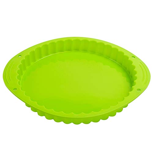 Webake Pie Dish Silicone Quiche Tin 9.5 Inch Round Fluted Quiche Dishes Fluted Flan Pan Baking Mould Tart Tins for Cakes Bread Pie Pancakes Pizza - Green