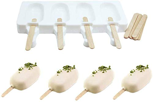 Shenlu Ice-Cream Silicone Bar Mould Set with 8 Plastic Popsicle Sticks  4 Cavities Classic Oval Ice Lolly Mould  White