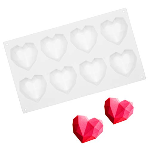 WIFUN 8 Cavity Silicone Chocolate molds  Heart Shape Jelly Mold Non Stick Silicone Mould for Candy Chocolate Sweet Jelly  Ice Cube