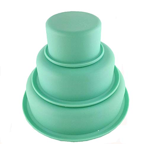 Voarge Set of 3 Silicone Round Cake Mould Silicone Baking Moulds for Cakes and Cakes for Baking  Set of 3  7  14 and 19 cm Silicone Green