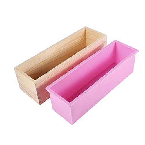 Silicone soap Molds  Fydun -40°C to 220°C Rectangle Silicone Liner Soap Mould Wooden Box DIY Making Tool Bake Cake Bread Toast Mold