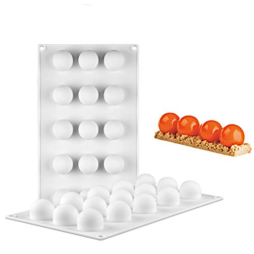 SHEANAON Sphere Mold Pan  15 Cavity Mini Ball Semi Sphere Silicone Bakeware Mould Tray for Cake Decoration  Truffle  Jelly  Mousse  Candy  Chocolate  Ice Cream Bombes  Teacake  etc.