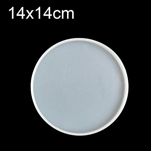 Zunbo 1 Piece Clear Round Coaster Silicone Epoxy Moulds Resin Casting Mould for Casting with Resin Concrete and Polymer Clay 14cm