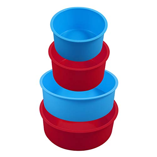 Diealles Shine 4Pcs Silicone Cake Moulds Tins Round Set  4 6 Red and Blue Round Cake Pan Set of Non-Stick Baking Mould Bakeware Tray for Birthday Party Wedding