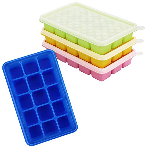 Kurtzy Ice Cube Trays with Clear Lids (4 Pack) - Flexible Silicone Covered Ice Cube Moulds for 60 Ice Cubes - Stackable Trays and Easy Release Mould for Baby Food  Water  Whiskey  Cocktails - BPA Free