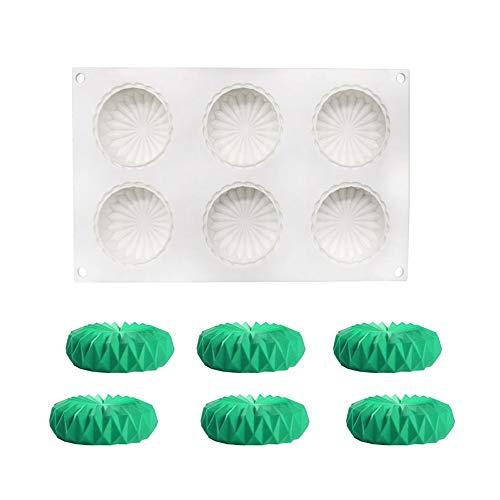 Silicone 3D Moulds  Silicone Mould for Cake Jelly Pudding Candy Chocolate  6 Holes Round Origami Shape