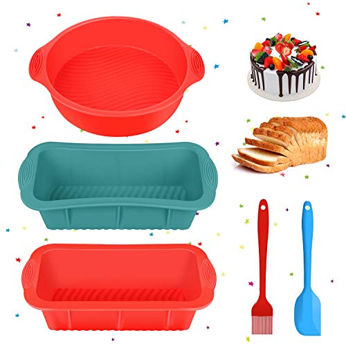 Silicone Cake Mould  Tanbaby 5 Piece Non-Stick Silicone Baking Mould Set Bread Tin Baking Loaf Tin Cake Tin Baking Oil Brush for Baking Cakes  Bread  Pie  Pancakes