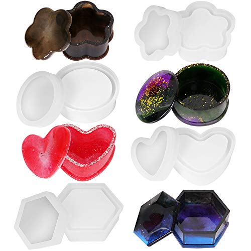 Lhedon Resin Moulds 4 Pack Jewelry Box Moulds with Round Silicone Resin Moulds Heart Shape Storage Box Mould Hexagon Epoxy Mould Plum Blossom Resin Molds for Resin Casting Crafts DIY-