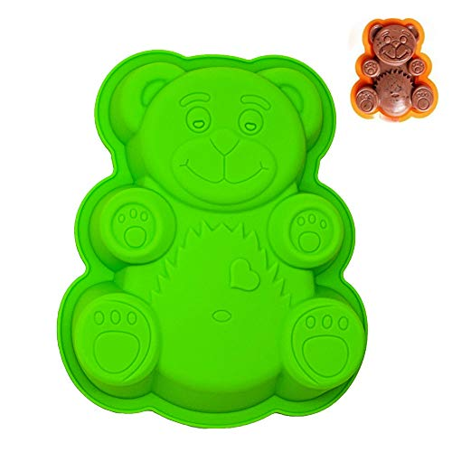KeepingcooX® 3D Large Teddy Bear Shaped Baking Tray Set | Novelty Silicone Cake Pan for Kids | Nonstick Fondant Chocolate Sugarcraft Mould Tin  BPA Free  21 x 17 x 2 cm