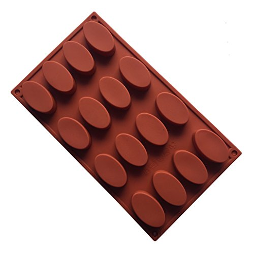 MKNzone 1 pc 16 Cavities Silicone Mould For Chocolate  Jelly And Candy etc. - Oval  Random Colour Delivery(29.5 X 17.5 X 1.8 cm)