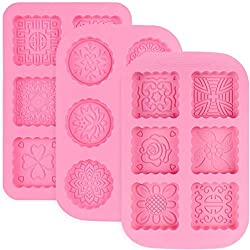 Akrcheft 3pcs Silicone Soap Mould Soap Moulds 6 Cavity Silicone Moulds Bowls Pans Cake Baking Chocolate Biscuit Ice Cubes Soap DIY Homemade Crafts