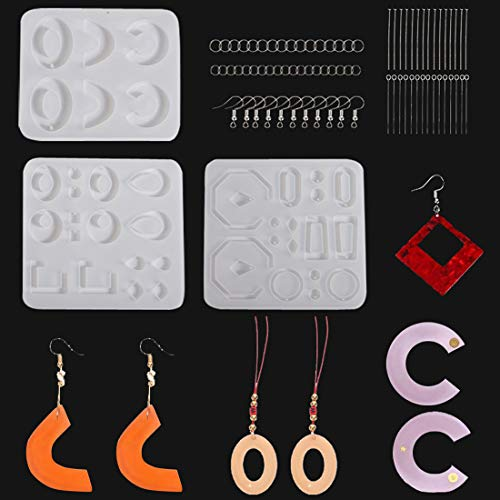 Earring Resin Moulds Kit Set Silicone Crystal Casting Epoxy Molds Pendant Jewelry Making Mould with Earring Hooks Jump Rings Eye Pins for Xmas Wedding Birthday Gifts Handmade Craft DIY Pack of 53