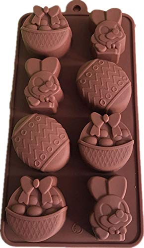 MKNzone 1 pc 8 Cavities Silicone Mould For Chocolate  Jelly And Candy etc. - Easter eggs and bunnies  Random Colour Delivery(22.5 X 11.7 X 2 cm)