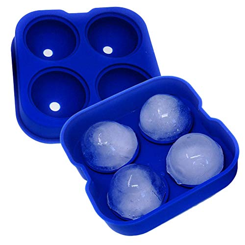 SpringPear® Blue Silicone Ice Cube Tray with Lid DIY Ice Balls Making Mould 4 Round Hockey Mold Reusable Sphere Shapes Suitable for Freezer