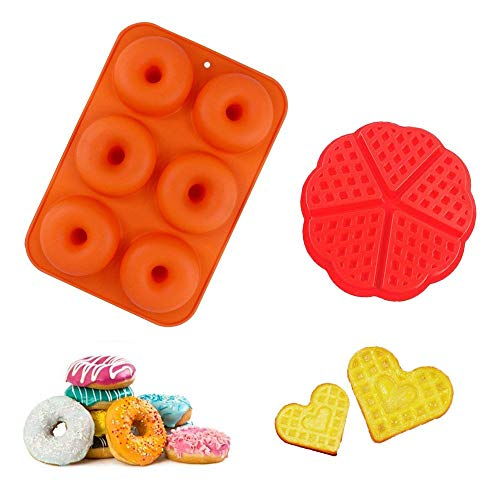 Kungfu Mall Silicone Doughnut Mould and Waffle Baking Mould  Silicone Baking Tray Maker Pan Heat Resistance for Cake Biscuit Bagels  6 Holes Donut Tray and 5 Holes Love Heart Waffle Mould