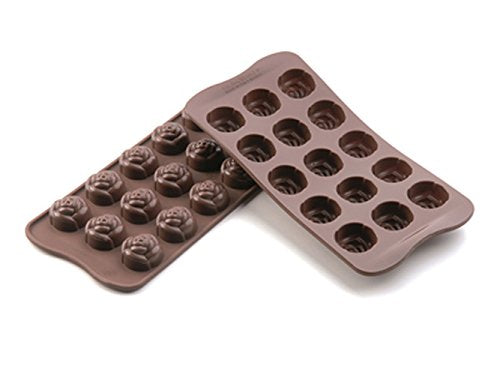 silikomart Silicone Chocolate Mould Rose  Brown