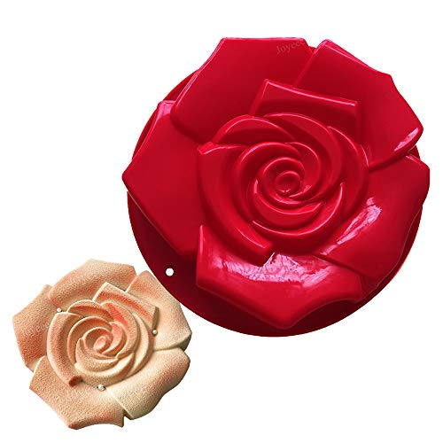 Joyeee Rose Flower Birthday Cake Mold Silicone Baking Mould Pan  30 x 5cm  Silicone Bakeware DIY Mold for for Party  Miffin  Cake  Bread  Pie  Meatloaf  Flan  Tart  Loaf  Pizza and more
