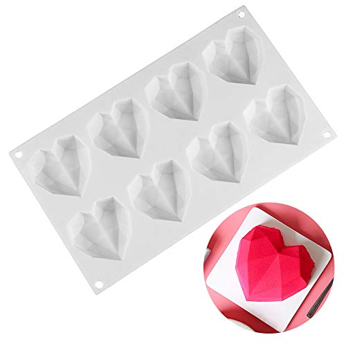Ziyero 3D Heart Diamond Shaped Mold 8 Cavity Chocolate Silicone Dessert Mould Handmade Baking Tools Tray Environmental Protection  for Christmas  Decorate Cake  Candy  Chocolate  Ice Cubes Etc—White