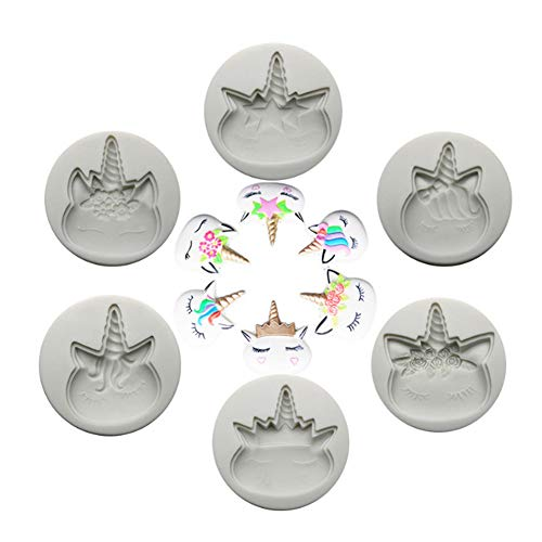 Silicone Fondant Mould-Set of 6 Unicorn Combination Silicone Mold…