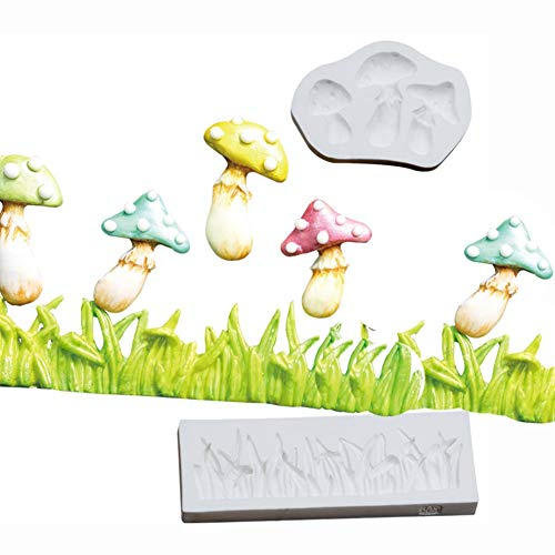 KALAIEN 2pcs Mushroom Grass Silicone Mold Cake Decorating Mould Fondant Sugar Craft Molds Candy Chocolate Mold