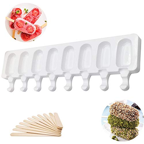 Silicone Ice Cream Mould 8 Cavity Pop Ice Lolly Mold Maker Creative DIY Ice Cream Stick Chocolate Frozen Dessert Popsicle Tray Home Kitchen Tools Pan + 16pcs Wooden Sticks (Large)