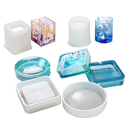 SEVEN HITECH Silicone Resin Kits Jewelry Casting Moulds Tools for Epoxy Resin Jewelry Making Ashtray and Pen Holder Home Decoration Mould DIY Crafts …