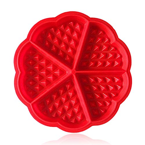 Waffle Maker  ZTSY Silicone Waffles Mould and Pancakes Mould - Non-stick Mini Heart Muffin Mould - Good for Slimming World Waffles and Breakfast Recipe  Red