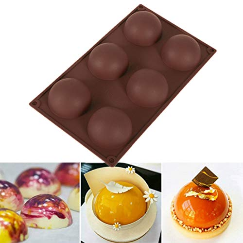 SHEANAON Sphere Mold Pan  6 Cavity Mini Ball Semi Sphere Silicone Bakeware Mould Tray for Cake Decoration  Truffle  Jelly  Mousse  Candy  Chocolate  Ice Cream Bombes  Teacake  etc.