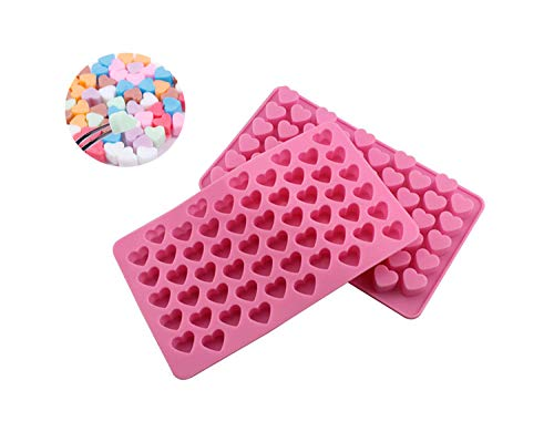 Silicone Mould 2 Pieces 55 Holes Heart Shape Silicone Moulds Suitable for Party Party Cake Decoration Baking Jelly Ice Cube Mold