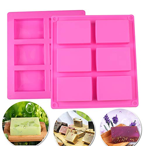 Soap Mold  2Pcs 6 Cavity Rectangle Silicone Mould for Candy Chocolate Cake & Make Your Own Homemade Bar Soap 6 Square Cavity Rectangle DIY Soap Mold Jelly Ice Cake Chocolate Silicone Moulds