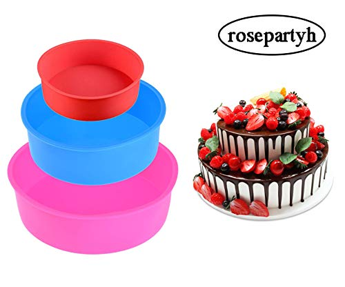 Silicone Cake Mould Round Tins Pan 4 Inch 6 Inch 8 Inch Set of 3 BPA-Free Non-Stick Baking Molds Bakeware Tray for Birthday Party Wedding Anniversary Red Blue Pink