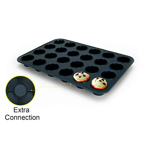 Mini Muffin Tray 24 Cup Silicone Muffins Pan  Non-Stick Cupcake Tin  Silicon Mould Bakeware  Reusable Baking Case for Mini Mince Pie  Cupcakes  Dishwasher Safe  34 x 23 x 2.5 cm (Grey)