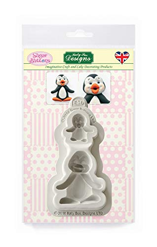 Penguins Silicone Mould for Cake Decorating  Crafts  Cupcakes  Sugarcraft  Candies  Card Making and Clay  Food Safe Approved  Made in The UK  Sugar Buttons
