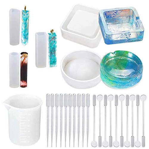 SIMUER 18PCS Ashtray Resin Casting Molds Pendant Rhombus Stripe Mould Silicone Measuring Cup Square Rhombus Plastic Stir Bars Disposable Straw for Ashtray DIY Crafts Coaster
