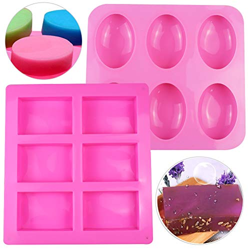 Simuer Silicone Soap Moulds 6 Cavity Silicone Mold Oval Rectangular Soap Mould Cake Mould for Craft Soap Mould Cake DIY Mould Biscuit Chocolate Mould Ice Cube Tray Pack of 2 (Pink)