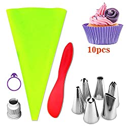 Cake Decorating Set  FantasyDay 6 Pieces Stainless Steel Piping Nozzles Icing Tips Kit with 1 Pastry Bag  1 Silicone Muffin Mould  1 Spatula  1 Coupler - Christmas Birthday Wedding Pastry Making Tools