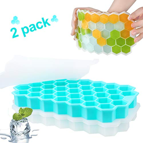 JUYOO Ice Cube Trays with Lids Spill-Resistant Removable Lid Ice Cube Molds - 2 Packs Reusable Ice Cube Mould - Easy-Release Silicone 74-Ice Cube Molds for Chilled Drinks  Whiskey & Cocktails