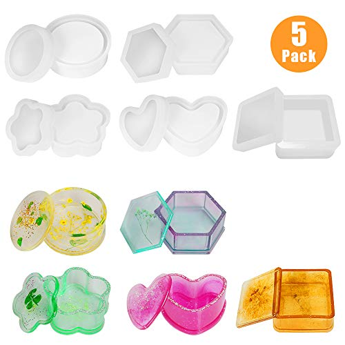 Lhedon Resin Moulds Jewelry Box Moulds with Round Silicone Resin Moulds Heart Shape Storage Box Mould Hexagon Epoxy Mould Plum Blossom Resin Molds Square Epoxy Mould for Resin Casting DIY- 5 Pack