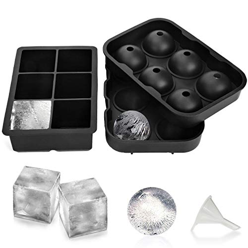 Large Ice Cube Trays Silicone Set of 2  Easy Release Plastic ice Cubes Reusable Square & Sphere Round Ice Ball Mould Maker