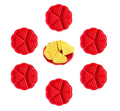 Waffle Mould Silicone Heart Waffles Mould Waffles Molds 6 Pcs BPA-Free Non-Stick