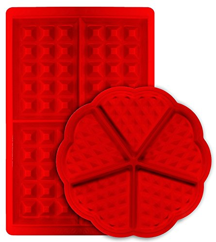 Waffle Mould  mSure Heart and Belgian Rectangular Shape Nonstick Silicone Waffle Mold Biscuit Kitchen Cookie Baking Tool - Set of 2