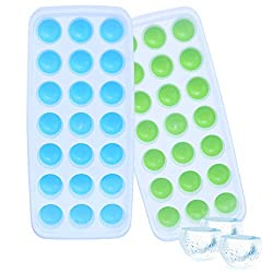 Ice Cube Trays - WENTS 2 Pack Silicone Ice Cube Mould with Lids 21 Grid Ice Trays for Family  Party  Bars  Chilling Bourbon Whiskey  Cocktail  and Beverages(Blue/Green)
