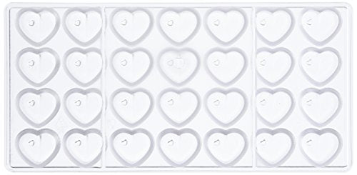 Silicone Bakeware Professional Polycarbonate Heart with Hole Chocolate Mould 28pcs/12g  Acrylic  27.5x13.5x2.4 cm