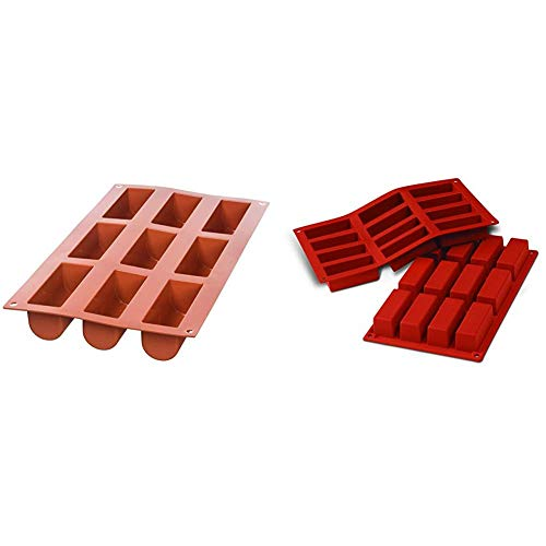 silikomart Silicone Mould No. 9 Midi Buche  Terracotta  Medium & Silicone Mould Mini Rectangular Cakes  Terracotta