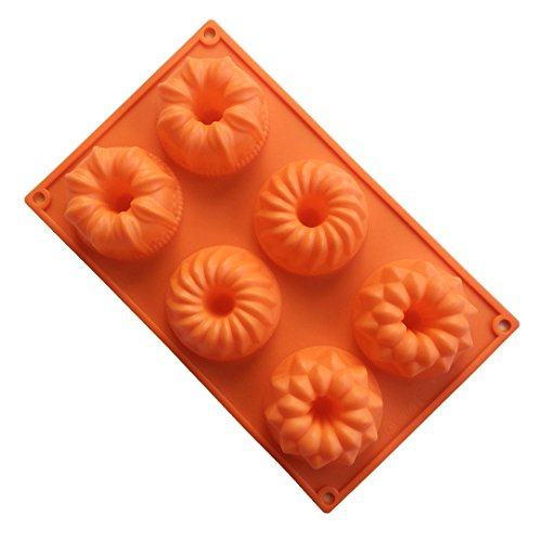 FantasyDay Premium 6-Cavity Donut Mold Flower Silicone Cookie Mould Donut Pan for Your Birthday Cake  Donut  Ice Cube  Muffin  Brownie  Chocolate Cookie  Cheesecake and More