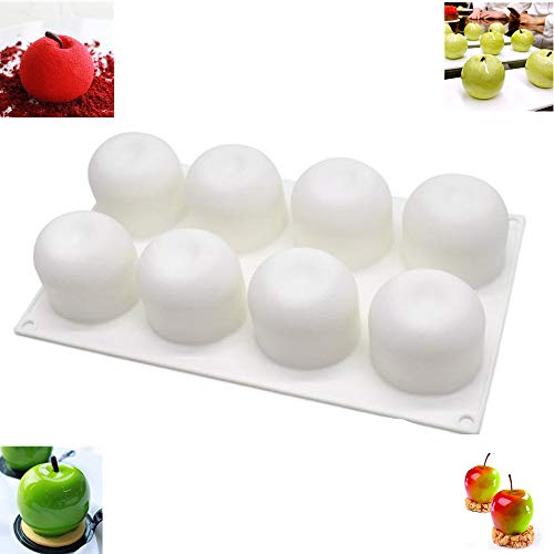 Silicone Cake Mould Cupcake Mold Dessert Mousse Fondant Chocolate Jelly Ice Cube Trays (Apple Shape)
